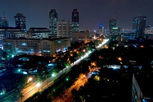 Cityscape at night, Jakarta, Indonesia, Southeast Asia, Asia